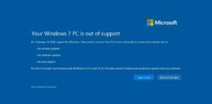Поддръжката за Windows 7 приключи на 14 януари 2020 г